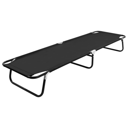 Folding Sun Lounger Black Steel
