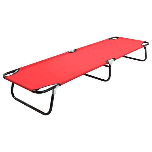 Folding Sun Lounger Red Steel