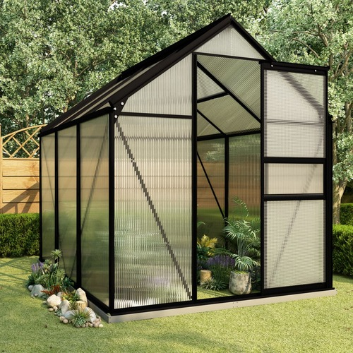 Greenhouse with Base Frame Anthracite Aluminium 3.61 m²