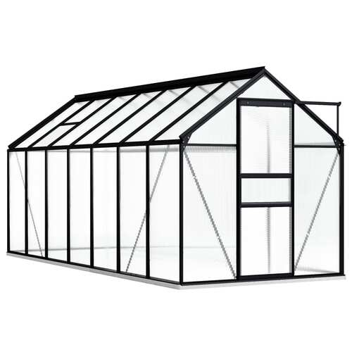 Greenhouse with Base Frame Anthracite Aluminium 8.17 m²