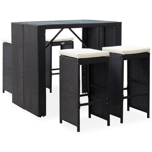 5 Piece Outdoor Bar Set Poly Rattan and Glass Black