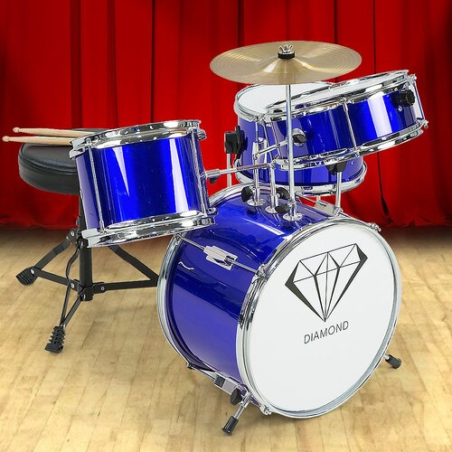 Children's 4pc Drum Kit - Blue