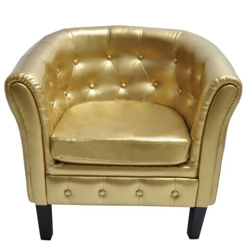 Tub Chair Gold Faux Leather