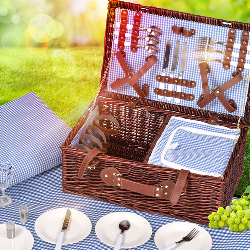 Deluxe 4 Person Picnic Basket Corporate Set Outdoor Blanket Park Trip