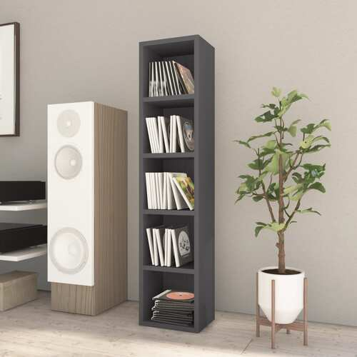 CD Cabinet High Gloss Grey 21x16x93.5 cm Chipboard