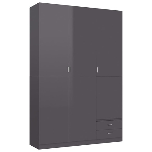 3-Door Wardrobe High Gloss Grey 120x50x180 cm Chipboard
