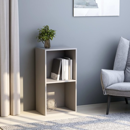 2-Tier Book Cabinet Grey 40x30x76.5 cm Chipboard