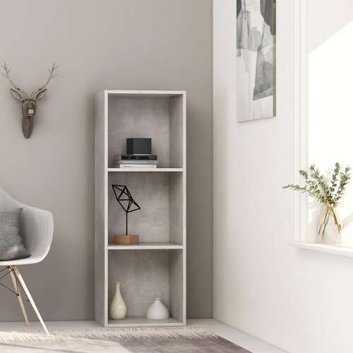 3-Tier Book Cabinet Concrete Grey 40x30x114 cm Chipboard