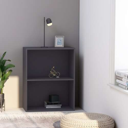 2-Tier Book Cabinet Grey 60x30x76.5 cm Chipboard