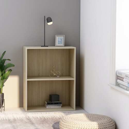 2-Tier Book Cabinet Sonoma Oak 60x30x76.5 cm Chipboard