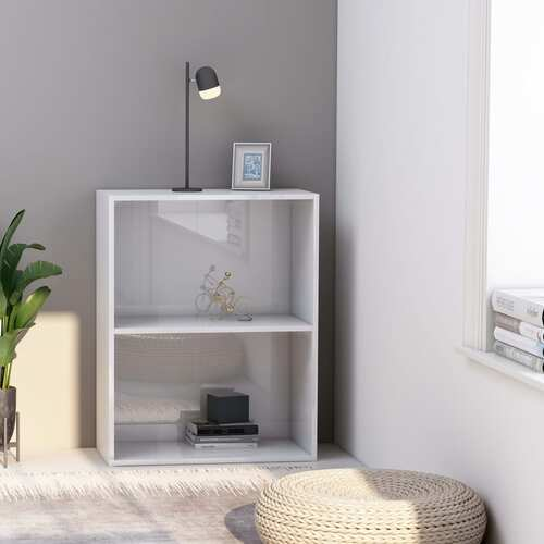2-Tier Book Cabinet High Gloss White 60x30x76.5 cm Chipboard