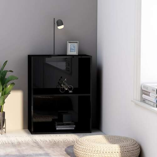 2-Tier Book Cabinet High Gloss Black 60x30x76.5 cm Chipboard