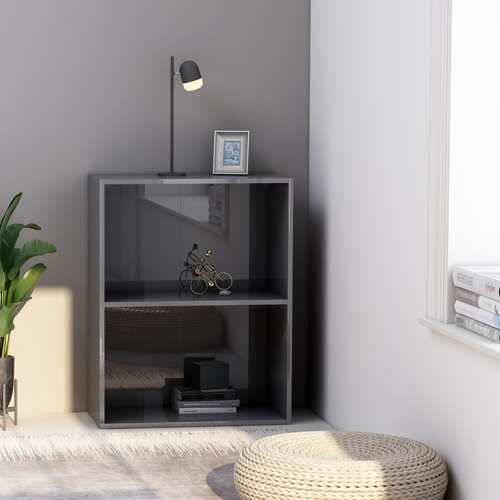 2-Tier Book Cabinet High Gloss Grey 60x30x76.5 cm Chipboard