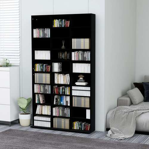 CD Cabinet Black 102x16x177,5 cm Chipboard