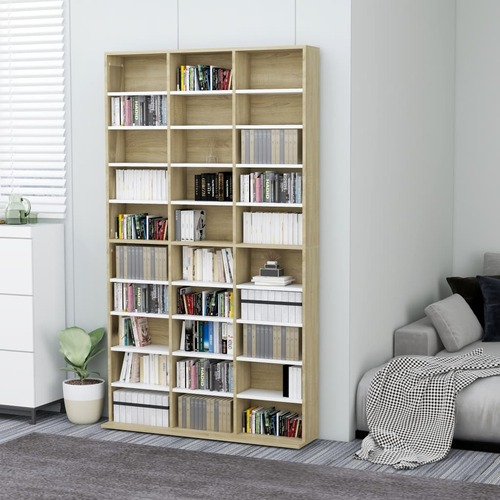 CD Cabinet White and Sonoma Oak 102x16x177,5 cm Chipboard
