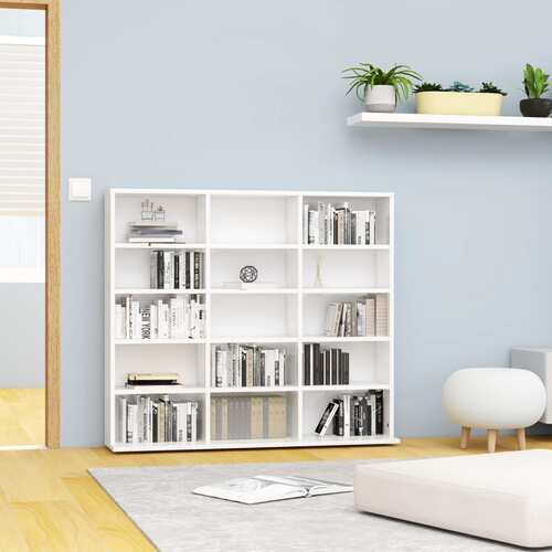 CD Cabinet High Gloss White 102x23x89,5 cm Chipboard