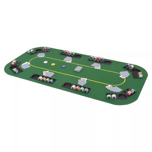 8-Player Folding Poker Tabletop 4 Fold Rectangular Green