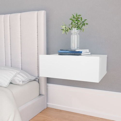 Floating Nightstand White 40x30x15 cm Chipboard