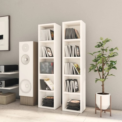 CD Cabinets 2 pcs White 21x16x93.5 cm Chipboard