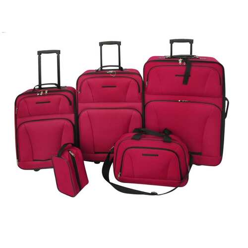 5 Piece Travel Luggage Set Red