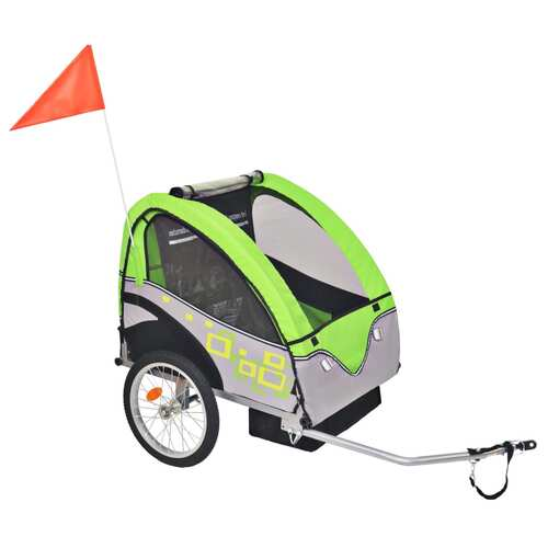 Kids' Bicycle Trailer Grey and Green 30 kg