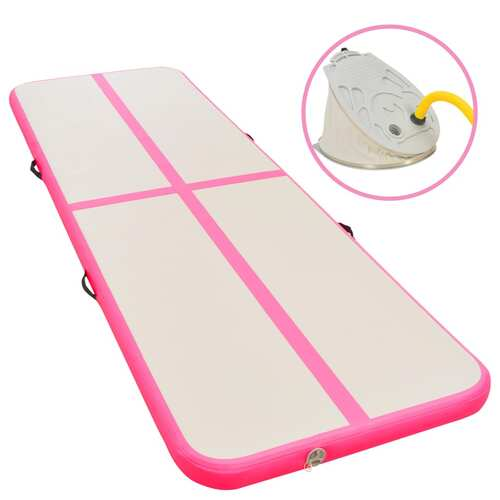Inflatable Gymnastics Mat with Pump 400x100x10 cm PVC Pink