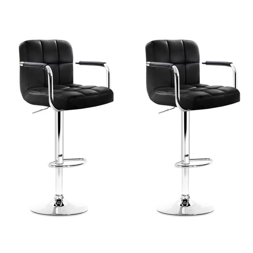 Artiss 2x Bar Stools Gas lift Swivel Chairs Kitchen Armrest Leather Chrome Black