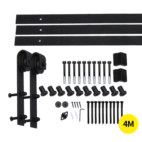 4M Antique Classic Style Single Sliding Barn Door Hardware Track Roller Kit