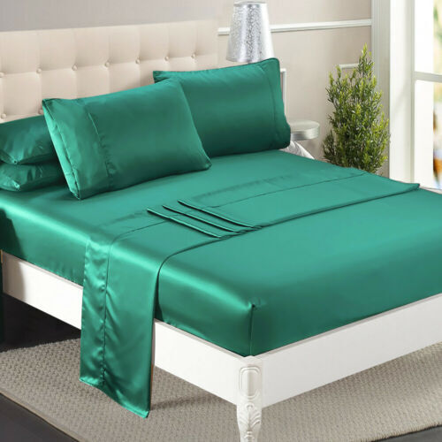 DreamZ Ultra Soft Silky Satin Bed Sheet Set in King Single Size in Teal Colour