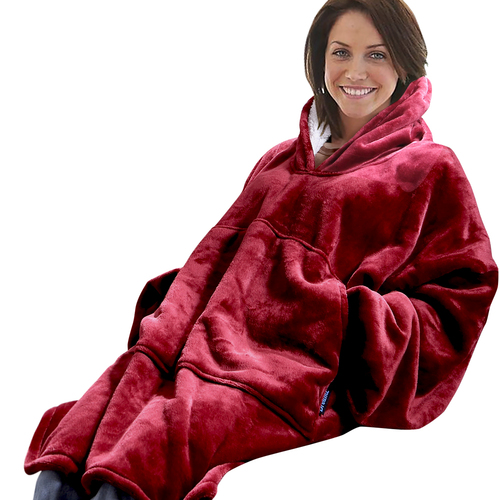 DreamZ Plush Fleece Sherpa Hoodie Sweatshirt Huggle Blanket Pajamas Burgundy