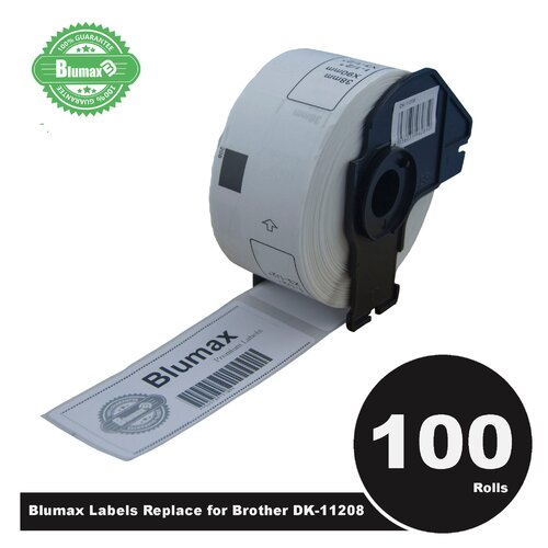 100 Pack Blumax Alternative Large Address White labels for Brother DK-11208 38mm x 90mm 400L
