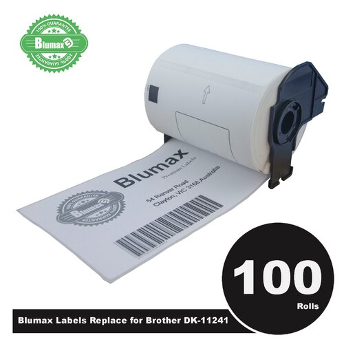 100 Pack Blumax Alternative Large Shipping White labels for Brother DK-11241 102mm x 152mm 200L