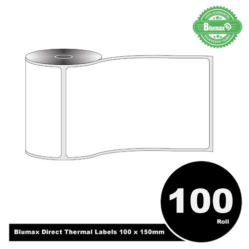 100 Rolls Blumax Direct Thermal (Zebra) 100mm x 150mm 300L White labels