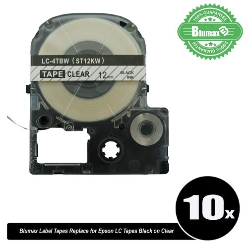 10x Blumax Alternative for Epson LC ST12KW 12mm Tapes Black Text on Clear Labels