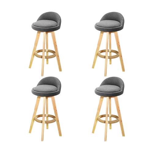 4x Levede Fabric Swivel Bar Stool Kitchen Stool Dining Chair Barstools Grey
