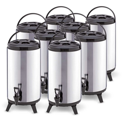 8 x 10L Portable Insulated Cold/Heat Coffee Tea Beer Barrel Brew Pot With Dispenser