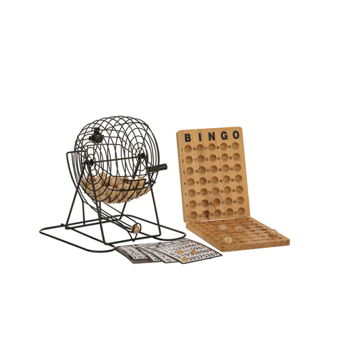 BINGO 75 PLAYER SET WITH METAL CAGE & WOODEN SCOREBOARD