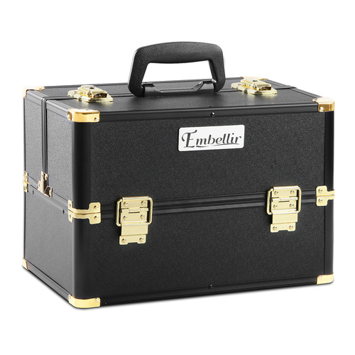 Portable Beauty Makeup Case - Black & Gold