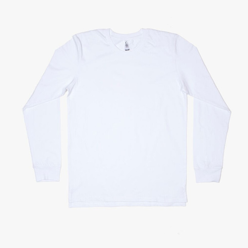 M6 - Mens Long Sleeve with Cuffs - White, L