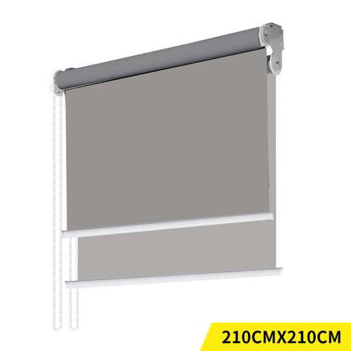 Modern Day/Night Double Roller Blinds Commercial Quality 210x210cm Grey Grey