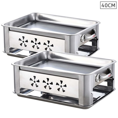 2X 40CM Portable Stainless Steel Outdoor Chafing Dish BBQ Fish Stove Grill Plate