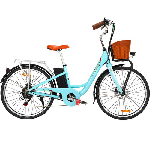 "Phoenix 26"" Electric Bike eBike e-Bike City Bicycle Vintage Style LG Battery Motorized Basket Green"