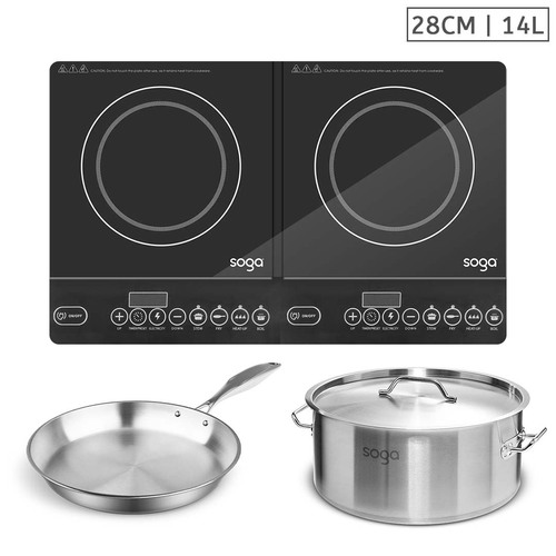 Dual Burners Cooktop Stove, 14L Stainless Steel Stockpot and 28cm Induction Fry Pan