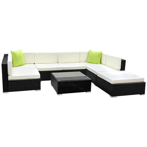 Gardeon 8PC Sofa Set with Storage Cover Outdoor Furniture Wicker