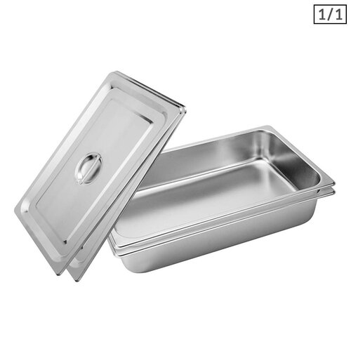 2X Gastronorm GN Pan Full Size 1/1 GN Pan 10cm Deep Stainless Steel Tray With Lid