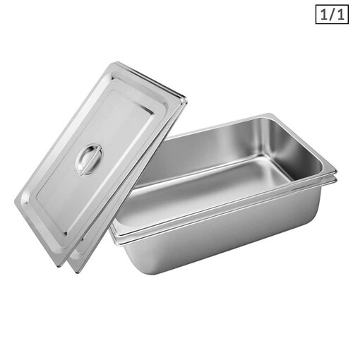 2X Gastronorm GN Pan Full Size 1/1 GN Pan 15cm Deep Stainless Steel Tray With Lid