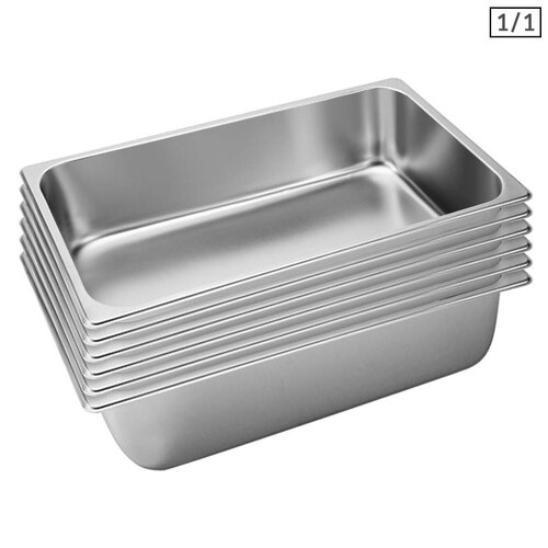 6X Gastronorm GN Pan Full Size 1/1 GN Pan 15cm Deep Stainless Steel Tray