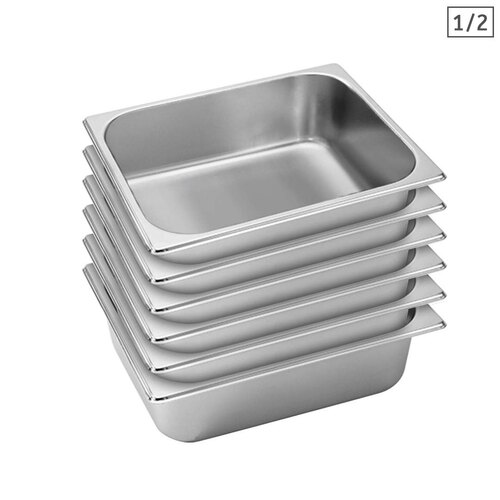 6X Gastronorm GN Pan Full Size 1/2 GN Pan 10cm Deep Stainless Steel Tray