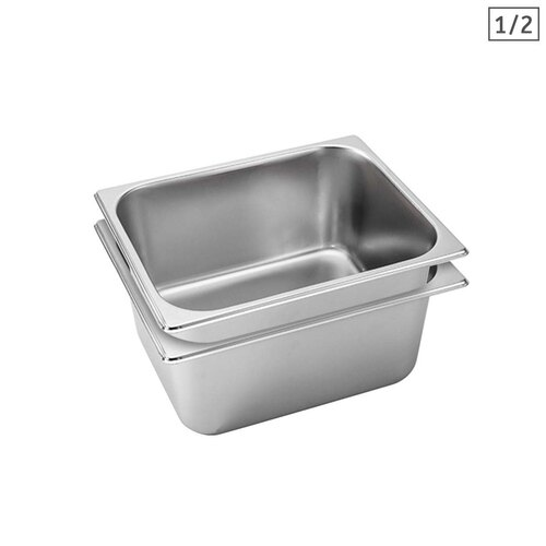 2X Gastronorm GN Pan Full Size 1/2 GN Pan 15cm Deep Stainless Steel Tray