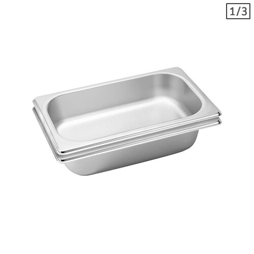 2X Gastronorm GN Pan Full Size 1/3 GN Pan 6.5 cm Deep Stainless Steel Tray